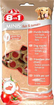 Лакомство 8in1 MINIS для собак Рыба и томаты 100 г