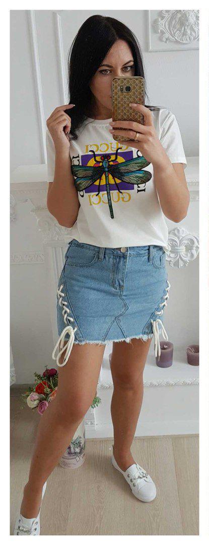 Джинсовая мини-юбка с декором с виде шнуровки 42-46 р