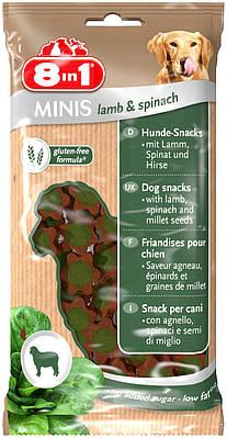 Лакомство 8in1 MINIS для собак Ягненок и шпинат 100 г