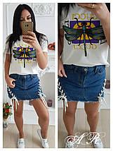 Джинсовая мини-юбка с декором с виде шнуровки 42-46 р, фото 2
