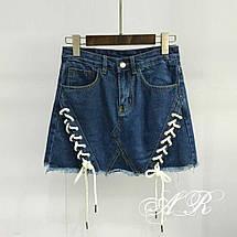 Джинсовая мини-юбка с декором с виде шнуровки 42-46 р, фото 3