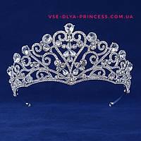 Свадебная диадема, тиара, корона под серебро, высота 4 см., фото 1