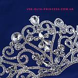 Детская диадема, тиара, корона под серебро, высота 4 см., фото 2