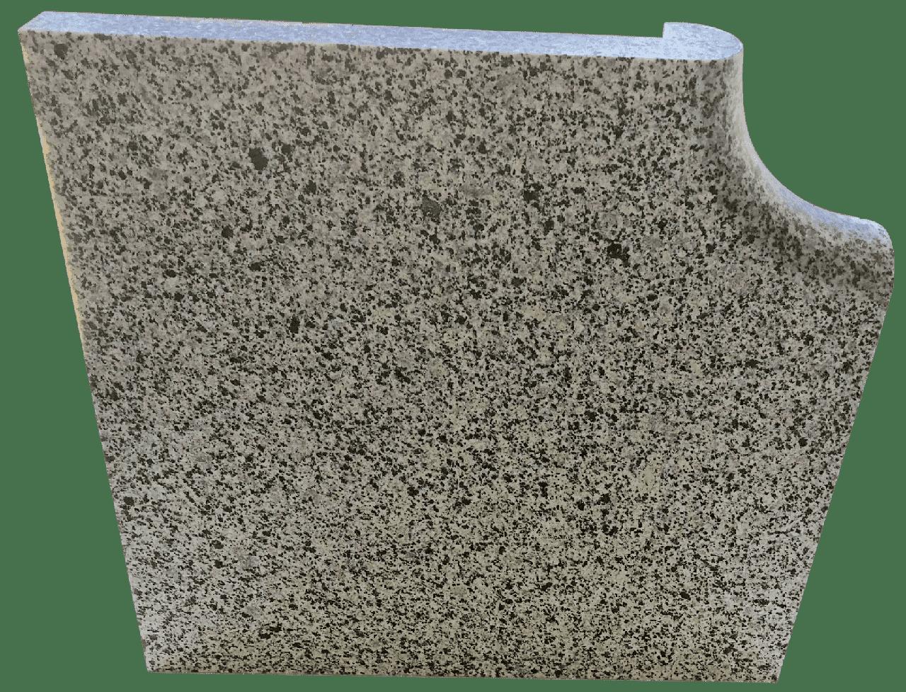 Копинговый камень угловой из Гранита серый 38 х 38 см.
