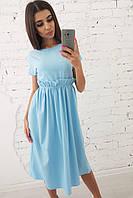 Голубое платье миди с присборенной талией