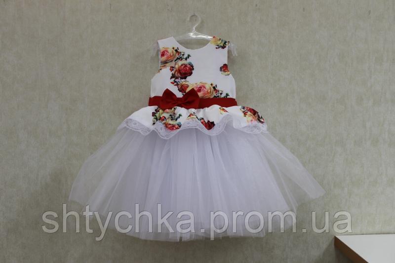 """Нарядное платье на девочку """"Гламурная радость"""" с белым фатином"""