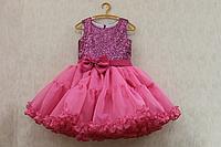 """Нарядное платье на девочку """"Малиновая пайетка"""" с малиновым низом"""