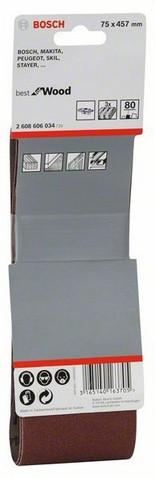 Шліфстрічка 75х457мм К 80 BOSCH (3шт)