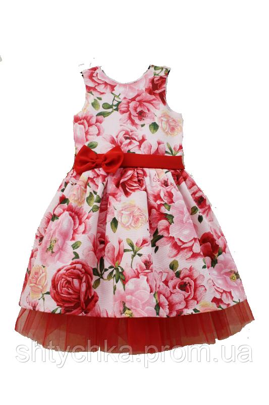 """Нарядное платье на девочку """"Розочка - цветочек"""" с красным фатином"""