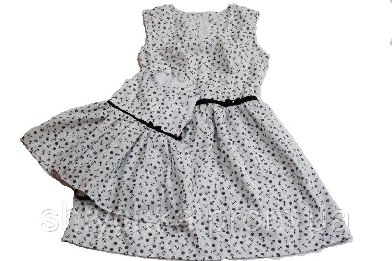 """Летнее платье на маму и доченьку в стиле family look """"Якоря"""""""