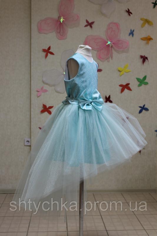 Нарядное платье на девочку мятный шлейф