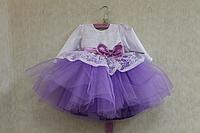 """Нарядное платье на девочку """"Карамелька 2"""" с атласными рукавами и сиреневым фатином"""