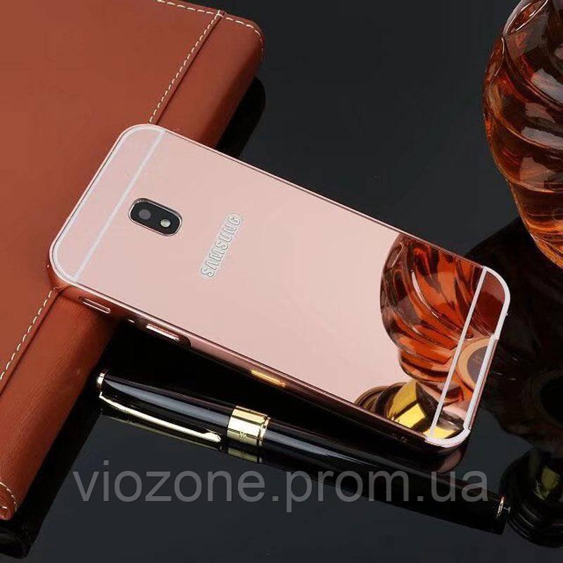 Зеркальный Чехол/Бампер для Samsung Galaxy J3 2017 / J330, Розовый (Металлический)