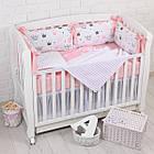 """Детская постель с 4 бортиками-подушками 33*60 см и простынкой """"Пудровые короны"""", фото 3"""