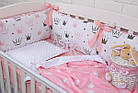 """Детская постель с 4 бортиками-подушками 33*60 см и простынкой """"Пудровые короны"""", фото 7"""