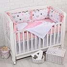 """Детская постель с 4 бортиками-подушками 33*60 см и простынкой """"Пудровые короны"""", фото 4"""