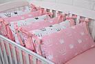 """Детская постель с 4 бортиками-подушками 33*60 см и простынкой """"Пудровые короны"""", фото 5"""