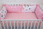 """Детская постель с 4 бортиками-подушками 33*60 см и простынкой """"Пудровые короны"""", фото 2"""