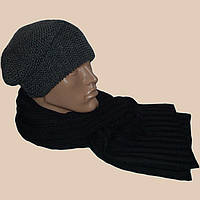 Мужская вязаная шапка-носок объемной вязки и шарф-петля