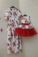 """Нарядные платья на маму и доченьку в стиле Фемели лук """"Красная розочка на белом фоне с рукавами"""""""