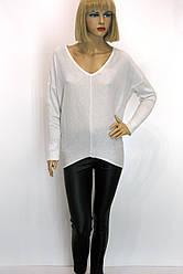 Жіноча біла кофта з люрексом oversaize