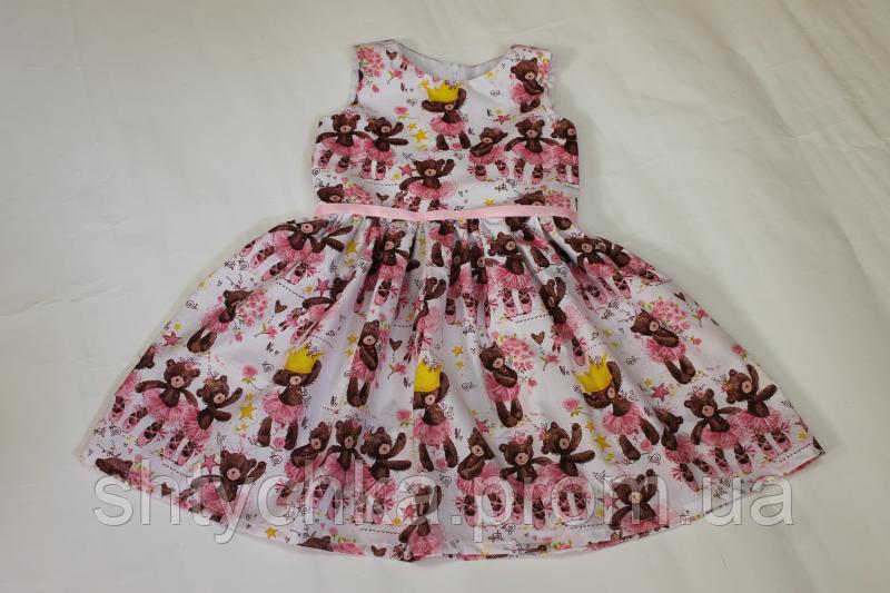 """Летнее платье на девочку """"Гламурные мишки"""""""