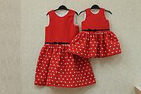 """Повседневно - нарядное платье на девочку """"Сердечки"""" на красном фоне с черным поясом"""