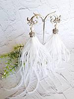 Серьги-кисти из перьев