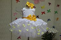 """Нарядное платье на девочку  """"Мармеладка"""" с желтым поясом и бантиком и бабочками"""
