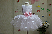 """Нарядное платье на девочку  """"Мармеладка"""" с розовым поясом и бантиком и белыми бабочками"""