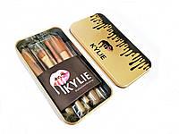 Набор кистей для макияжа KYLIE в металлическом кейсе ( Мини-кисти 7 шт. )