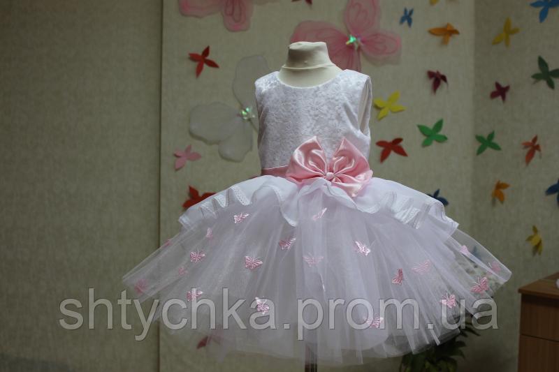 """Нарядное платье на девочку  """"Мармеладка"""" с розовым поясом и бантиком и розовыми бабочками"""