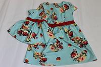 """Повседневно - нарядное платье на маму и доченьку """"Виктория"""" на мятном фоне  в стиле фемели лук"""