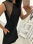 Женское стильное свободное платье-миди со вставкой сетки (3 цвета), фото 3