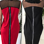 Женское стильное свободное платье-миди со вставкой сетки (3 цвета), фото 6