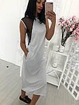 Женское стильное свободное платье-миди со вставкой сетки (3 цвета), фото 9