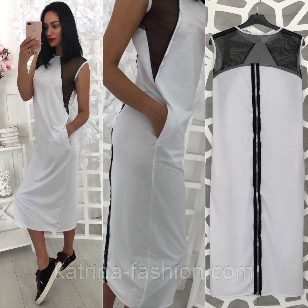 Женское стильное свободное платье-миди со вставкой сетки (3 цвета)