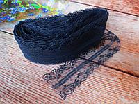 """Кружево """"Цветочное плетение"""", 4 см, цвет темно-синий, фото 1"""