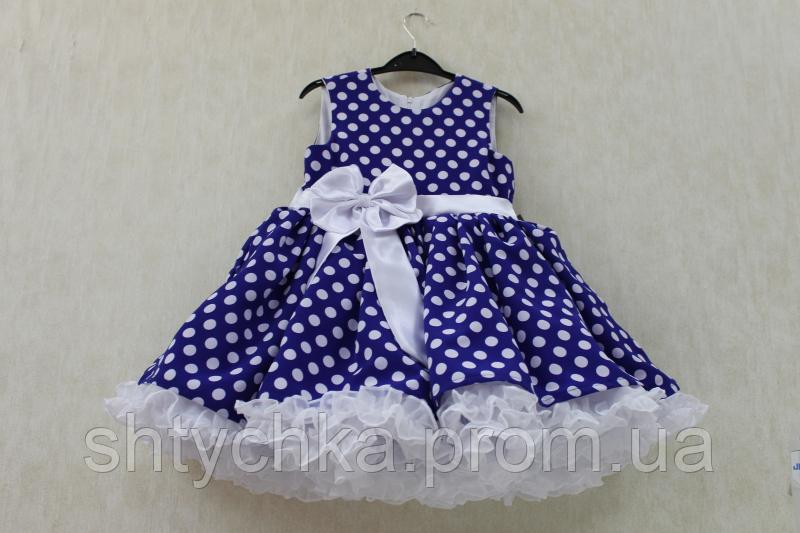 Нарядное платье на девочку синее в белый горошек с двойной юбкой американкой