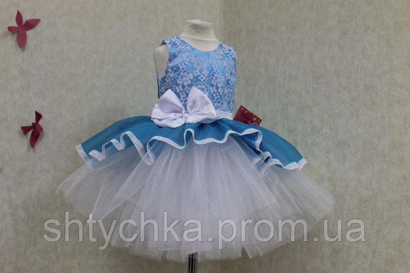 """Нарядное платье на девочку  """"Мармеладка"""" белое с голубым"""