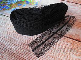 """Кружево """"Цветочное плетение"""", 4 см, цвет черный"""