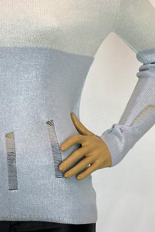 Жіноча голуба кофта із срібним напиленням , фото 2