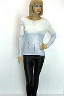 Жіноча голуба кофта із срібним напиленням