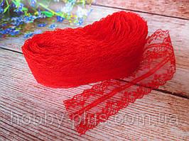 """Кружево """"Цветочное плетение"""", 4 см, цвет красный"""