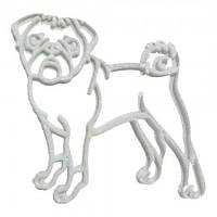 Украшение Собака Мопс пластик 12х9см