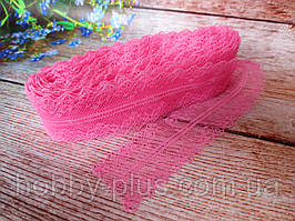 """Кружево """"Цветочное плетение"""", 4 см, цвет розовый"""
