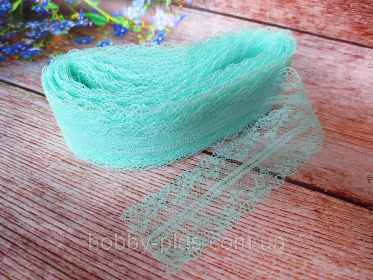 """Мереживо """"Квіткове плетіння"""", 4 см, колір м'ятний"""