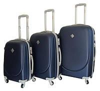 Чемодан сумка дорожный Bonro Smile набор 3 штуки темно-синий  Поликарбонат
