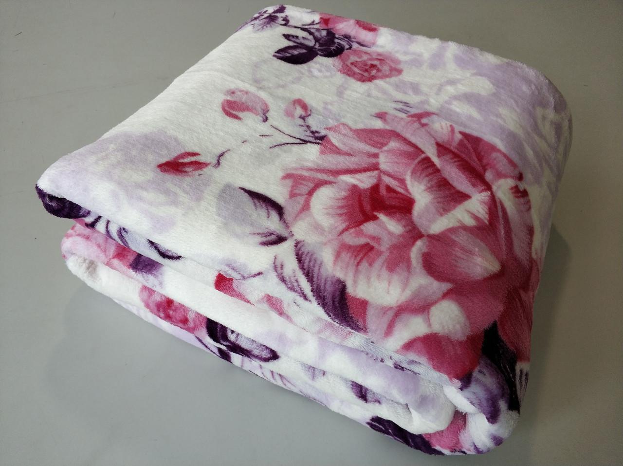 Микрофибровая простынь, покрывало TRUE LOVE евро Розы на розовом
