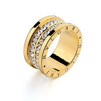 Кольцо Bvlgari yellow ювелирная бижутерия золото 18к декор Swarovski
